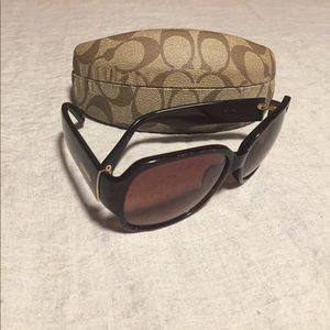 COACH Odessa Brown and Gold Sunglasses